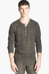 John Varvatos Burnout Long Sleeve Henley - Lyst