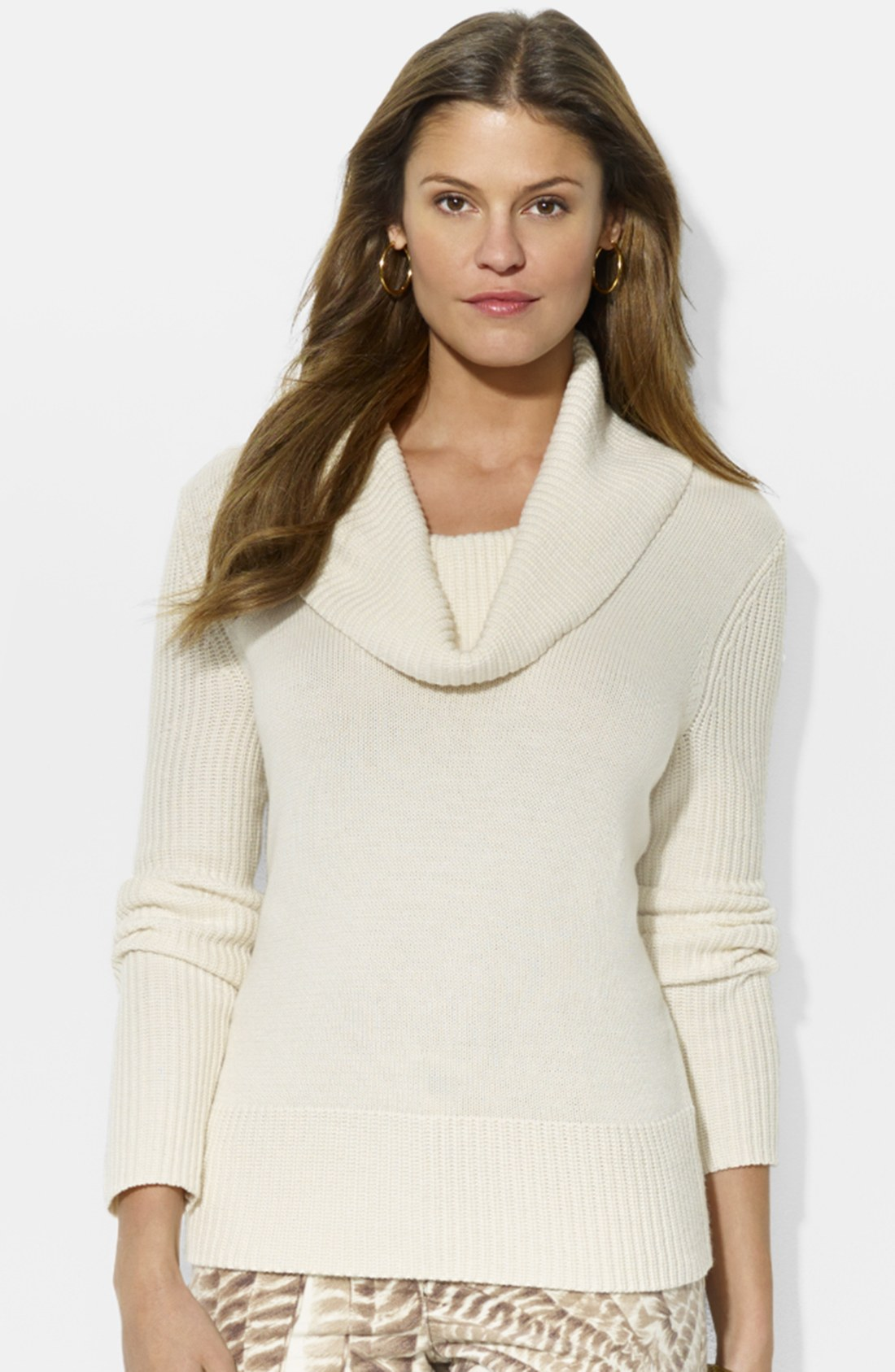 Lauren by ralph lauren Cowl Neck Sweater in Natural | Lyst