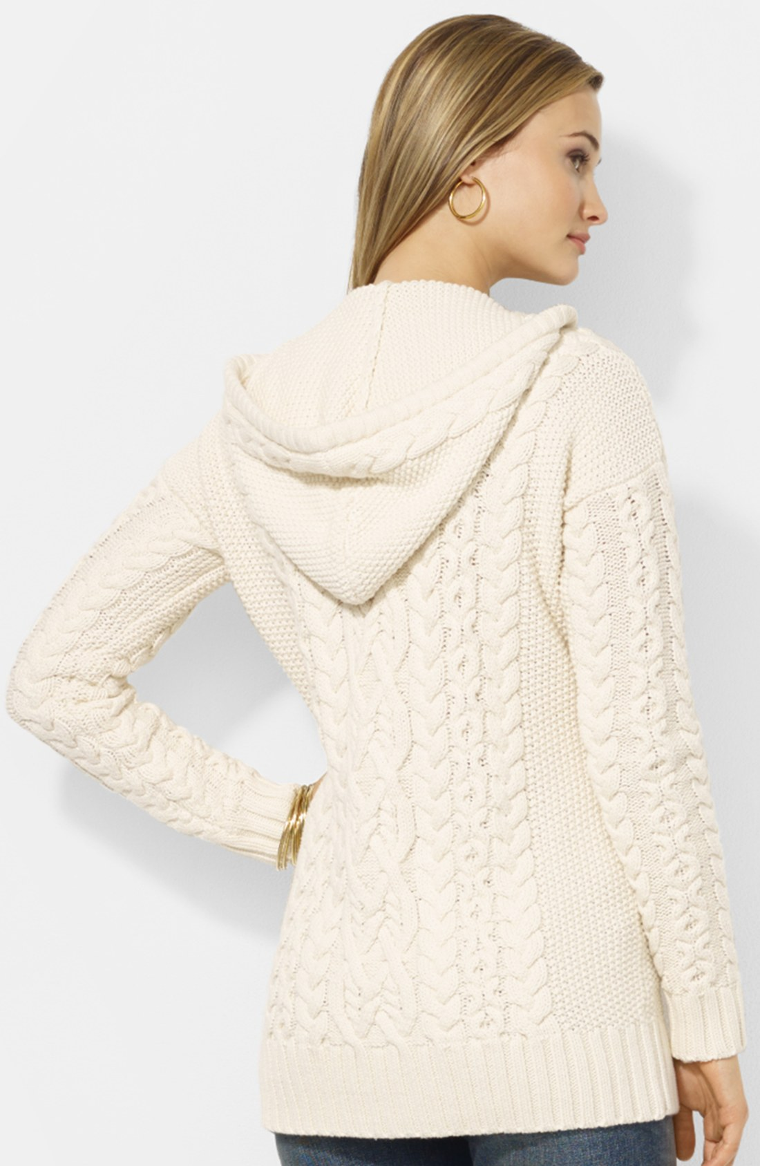 Lauren by ralph lauren Hooded Cable Knit Cardigan in Natural | Lyst