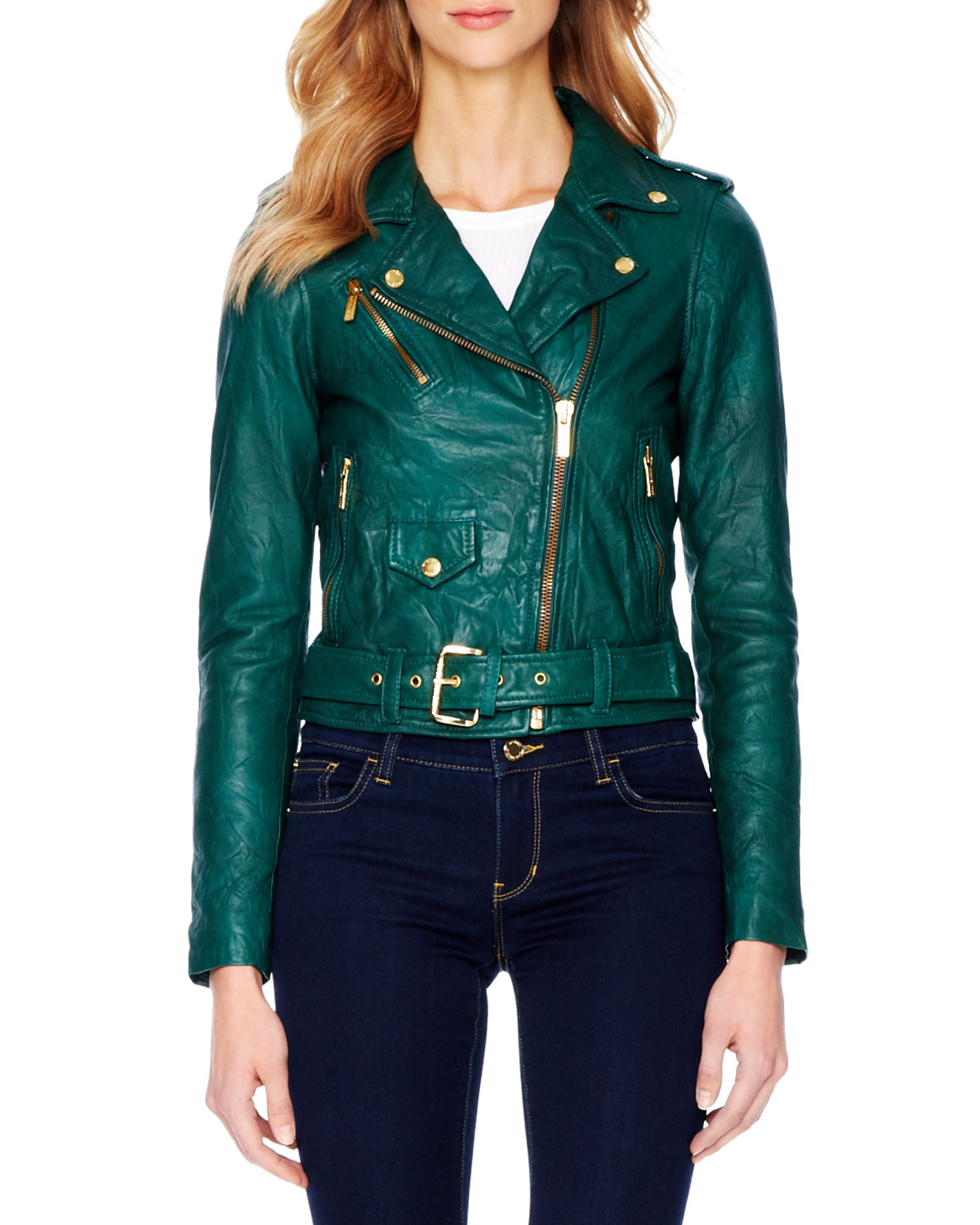 Michael michael kors Crinkled Leather Moto Jacket in Green | Lyst