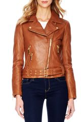 Michael by Michael Kors Belted Leather Moto Jacket - Lyst