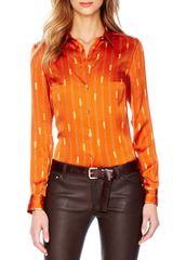 Michael by Michael Kors Printed Satin Fitted Blouse - Lyst