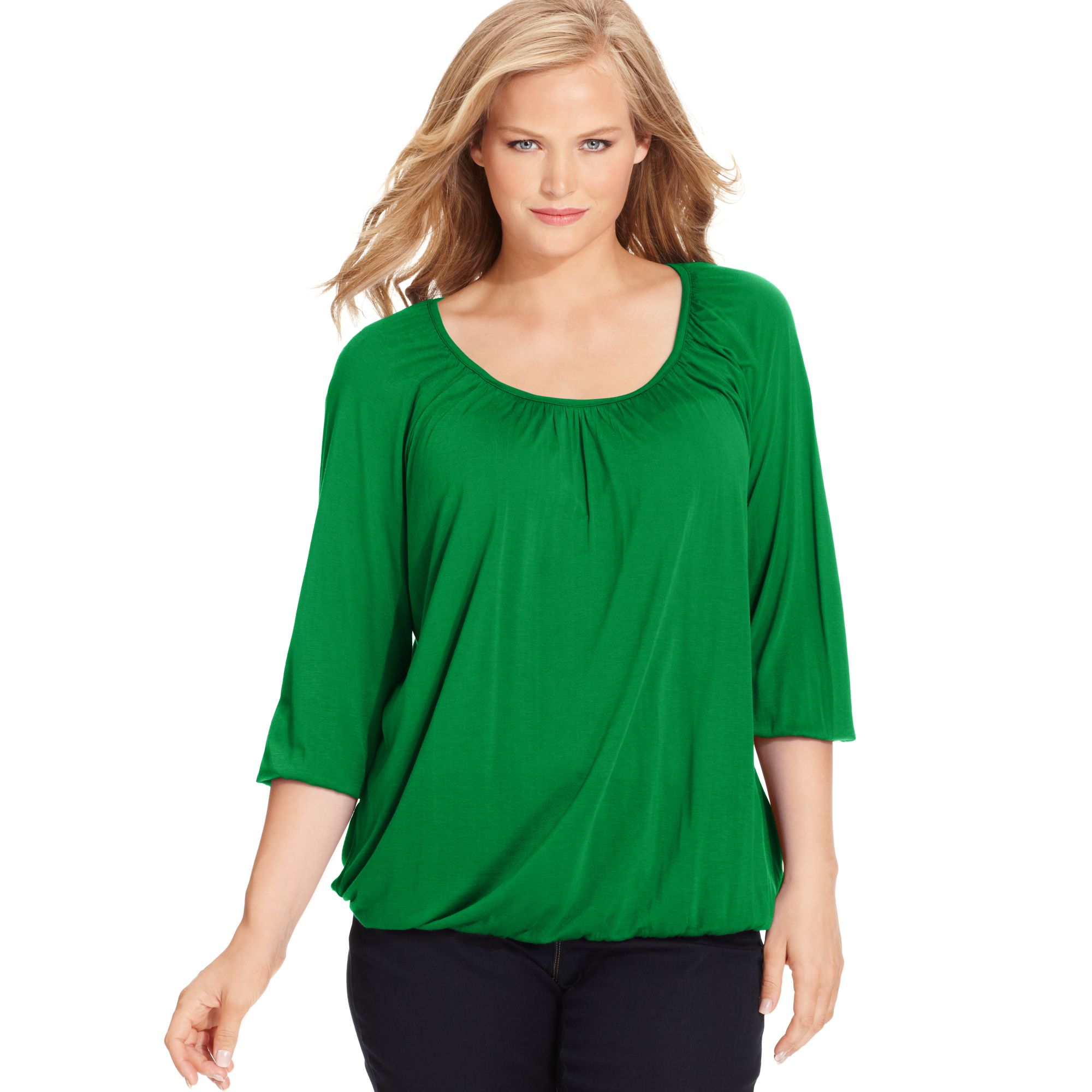 eca9c7c753a Lyst - Michael Kors Plus Size Three Quarter Sleeve Peasant Top in Green