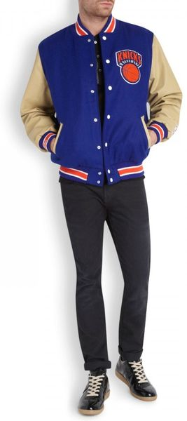 Mitchell & Ness New York Knicks Leather and Wool Varsity Jacket in
