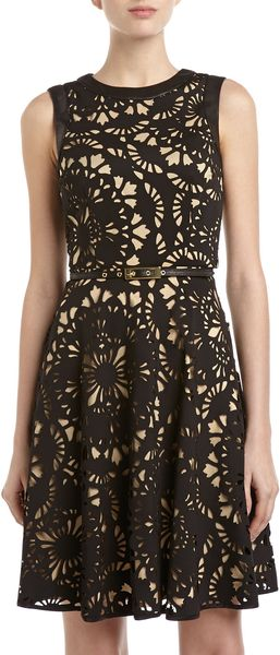 Muse Lasercut Belted Dress Black - Lyst