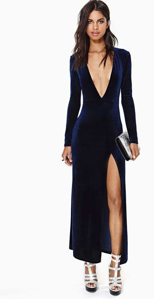 Nasty Gal Deep Midnight Velvet Dress - Lyst