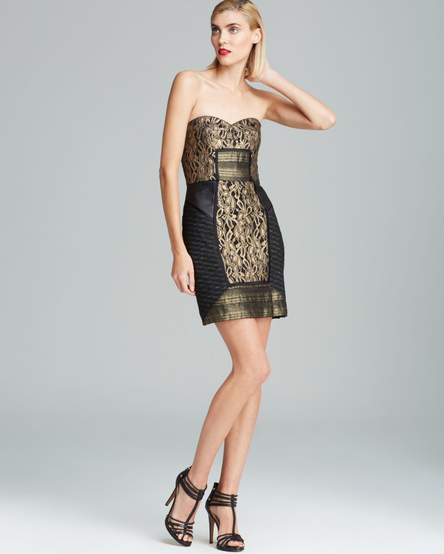 Lyst Nicole Miller Strapless Metallic Lace Dress In Black
