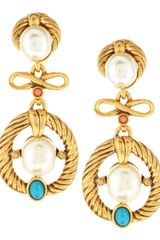 Oscar de la Renta Cabochon Pearlescent Clipon Earrings - Lyst