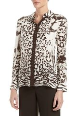 Philosophy di Alberta Ferretti Animal Landscape Print Blouse Brown - Lyst
