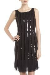 Philosophy di Alberta Ferretti Sequined Chiffon Dress Charcoal - Lyst
