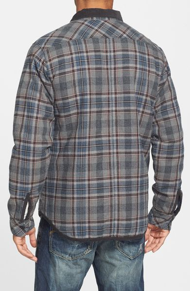 Rvca frostline plaid flannel shirt jacket with quilted for Men flannel shirt jacket with quilted lining