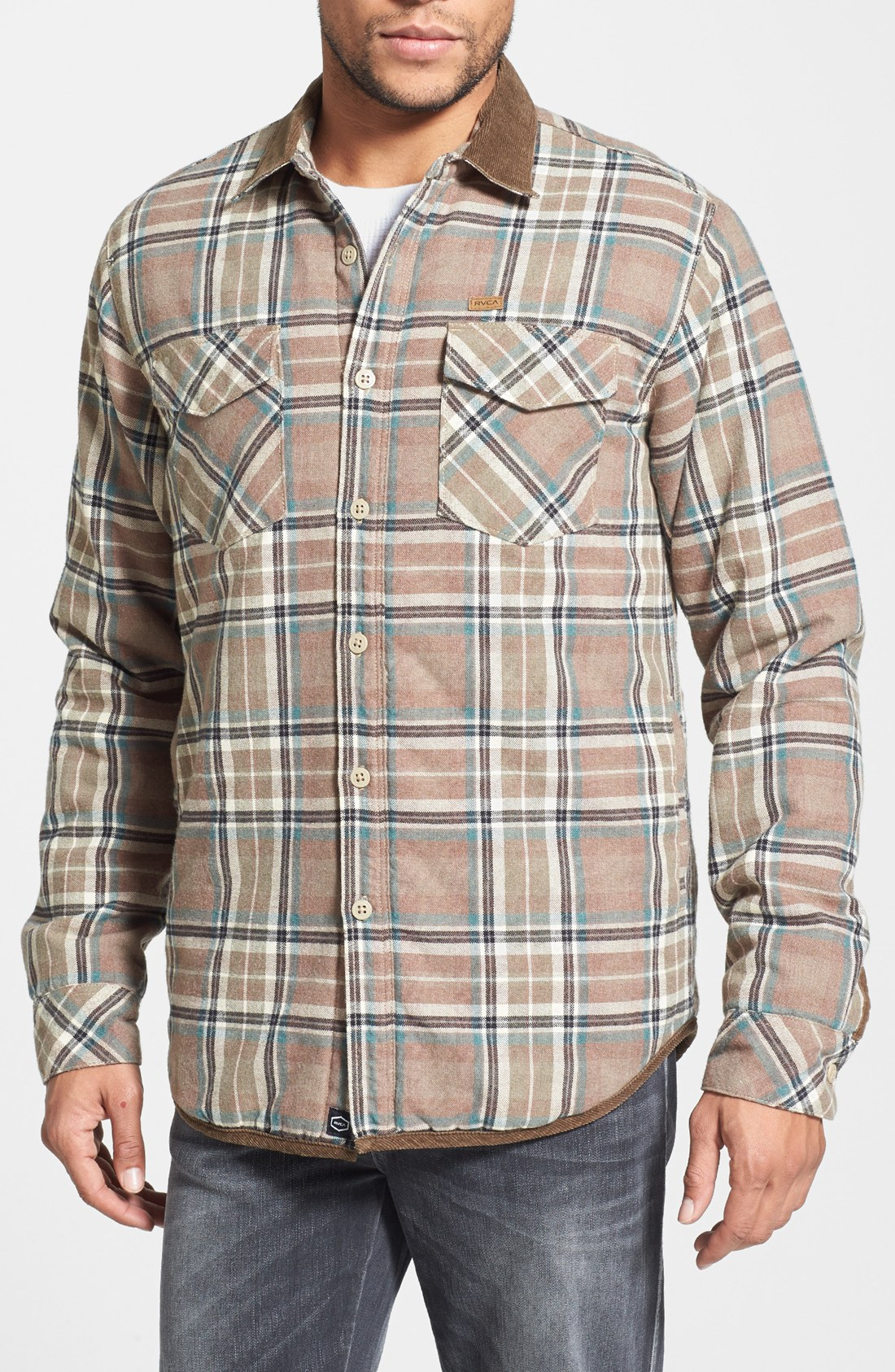 Lyst rvca frostline plaid flannel shirt jacket with for Men flannel shirt jacket with quilted lining