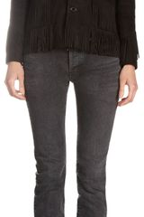 Saint Laurent Fringed Suede Jacket - Lyst