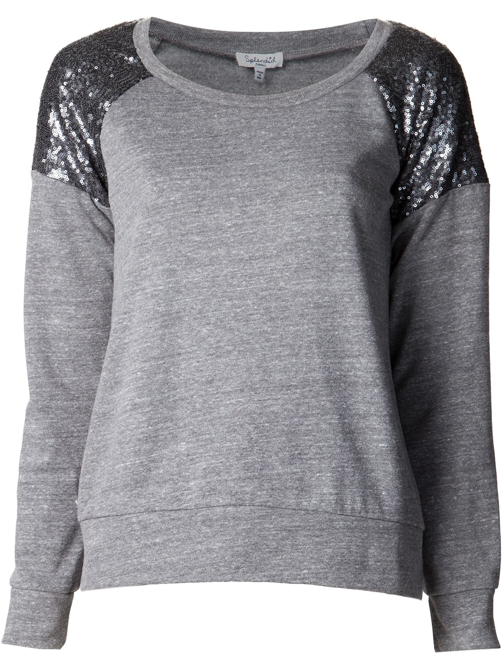 Splendid Sequin Pullover Sweater in Gray | Lyst
