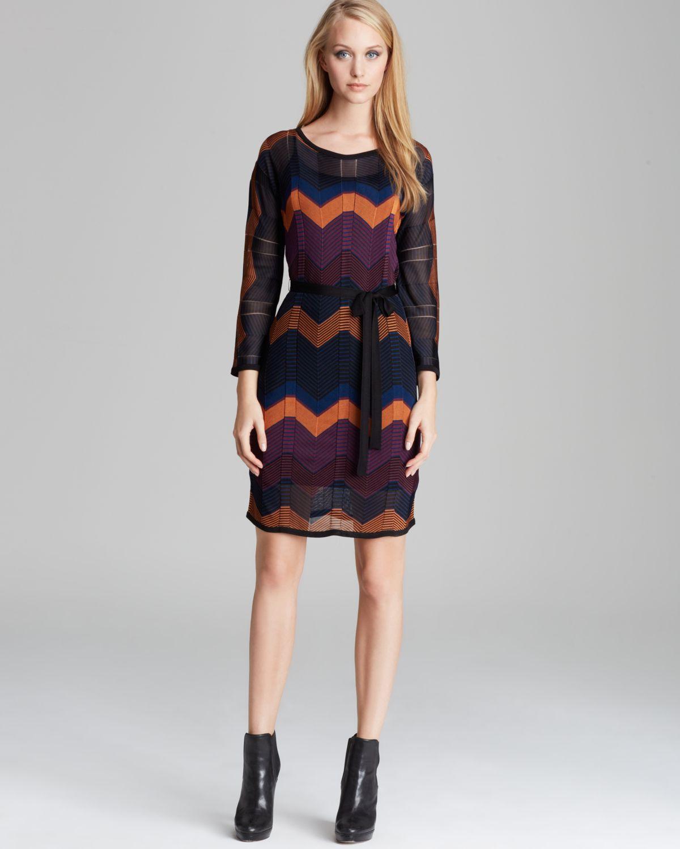chevron belted sweater dress albo in multicolor
