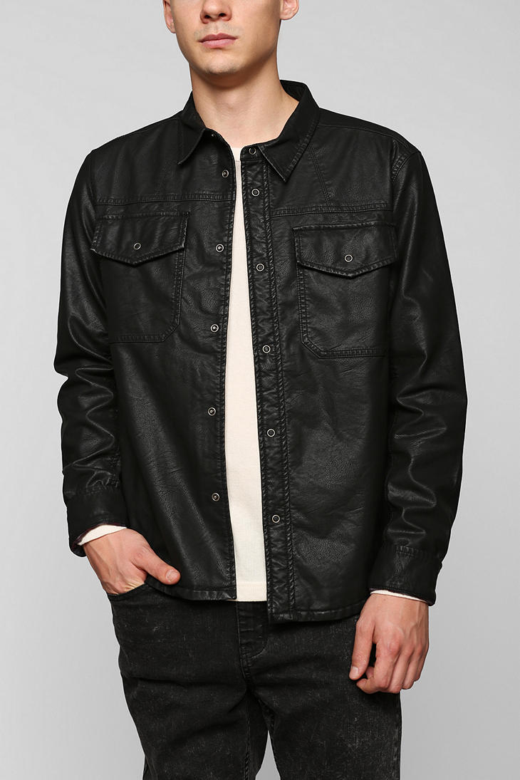 Urban outfitters Feathers Sebastian Faux-leather Shirt Jacket in ...