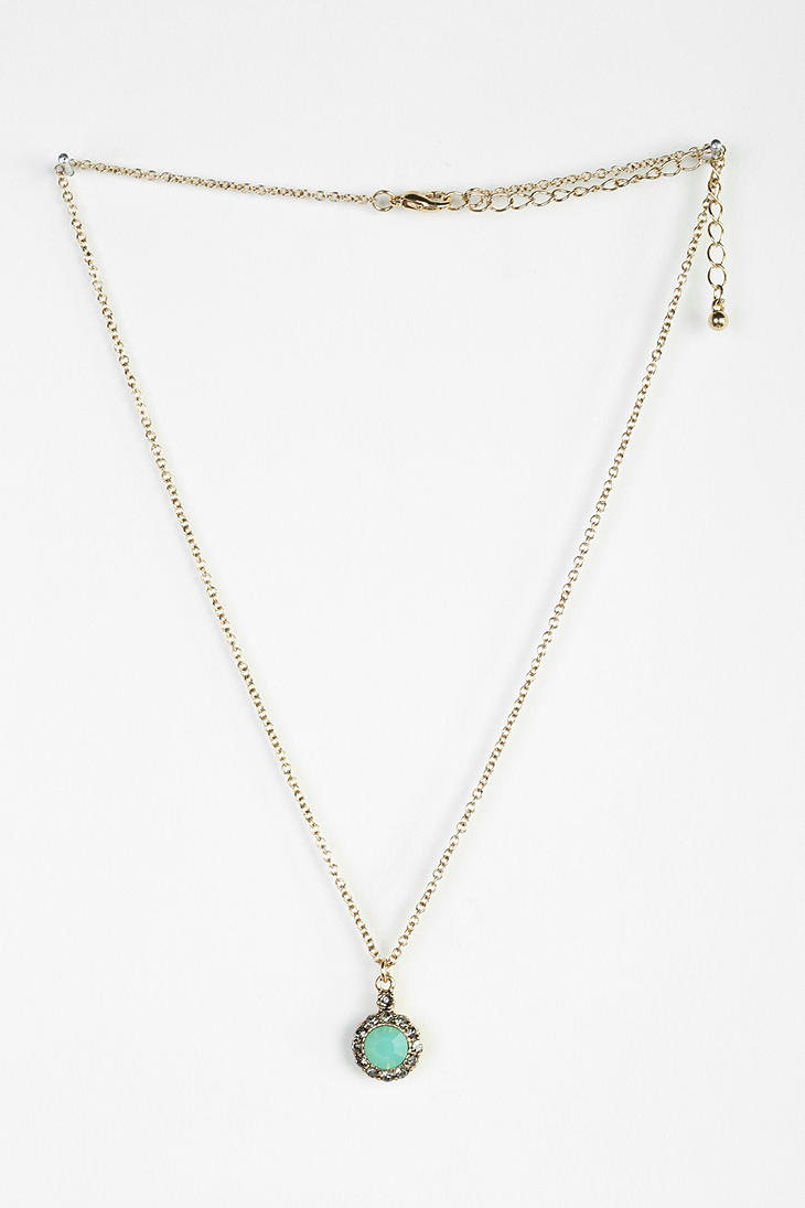 Lyst - Urban Outfitters Greenwich Gem Necklace in Green