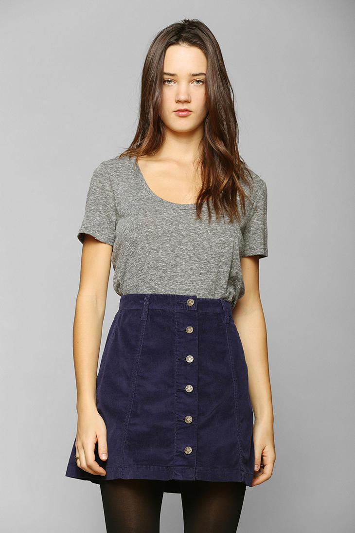 ca996afa1e Urban Outfitters Bdg Buttonfront Corduroy Aline Skirt in Blue - Lyst