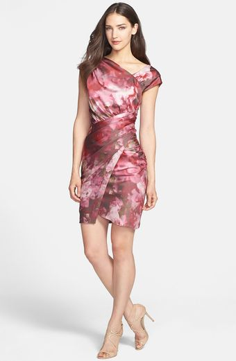 Vera Wang Print Asymmetrical Crepe Sheath Dress - Lyst