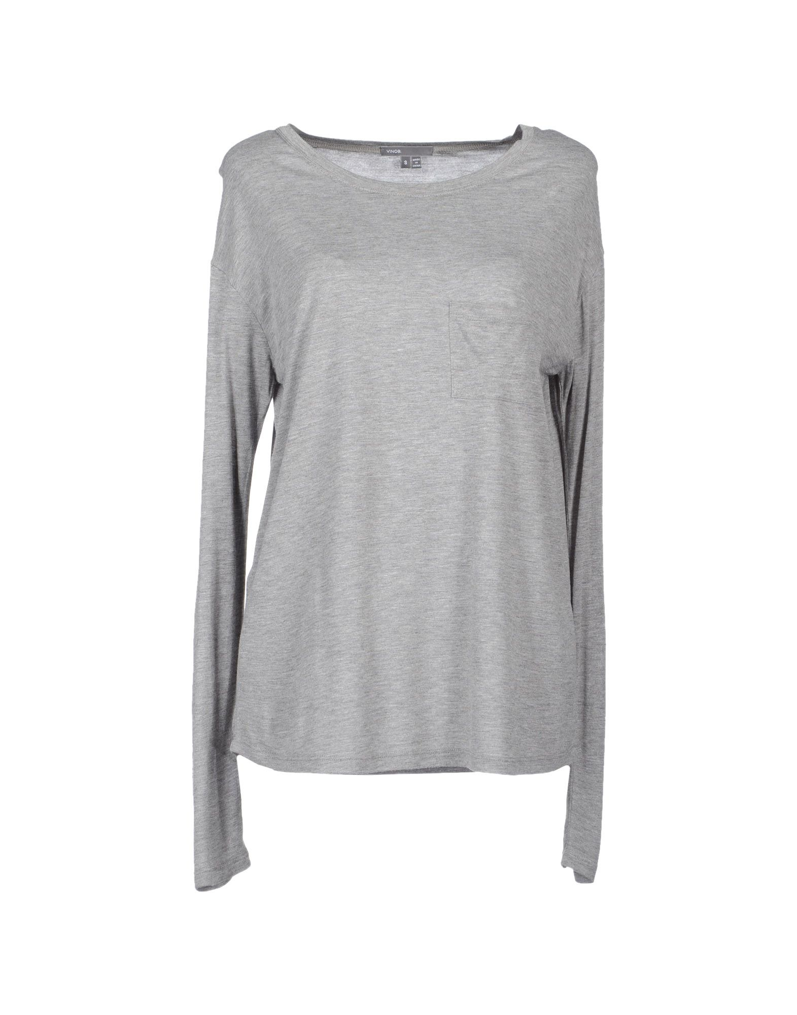 Vince Long Sleeve T Shirt In Gray Light Grey Lyst
