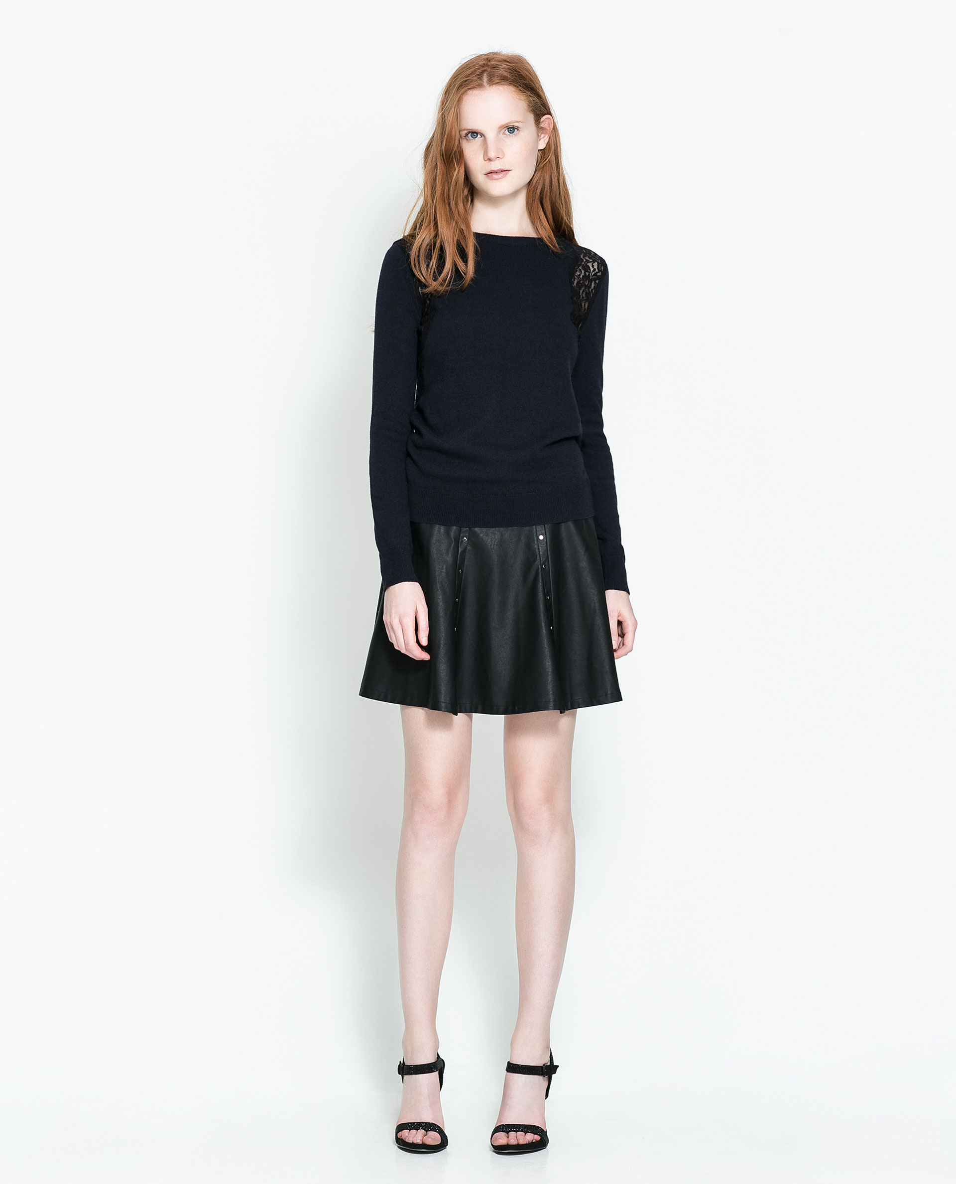 Zara Faux Leather Frilly Skirt in Black | Lyst