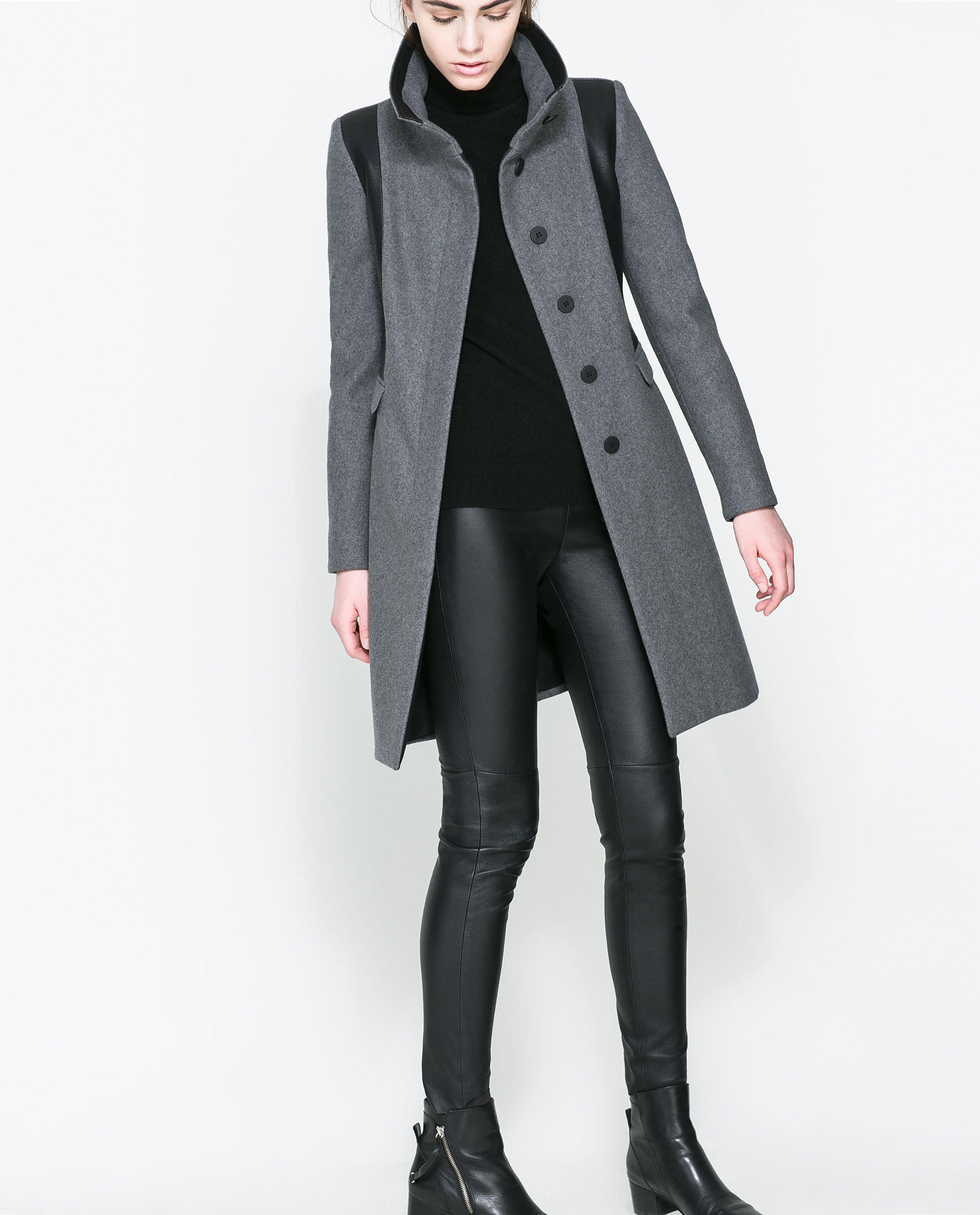 Zara Combined Wool Coat In Gray Grey Marl Lyst