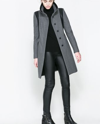 Zara Combined Wool Coat - Lyst