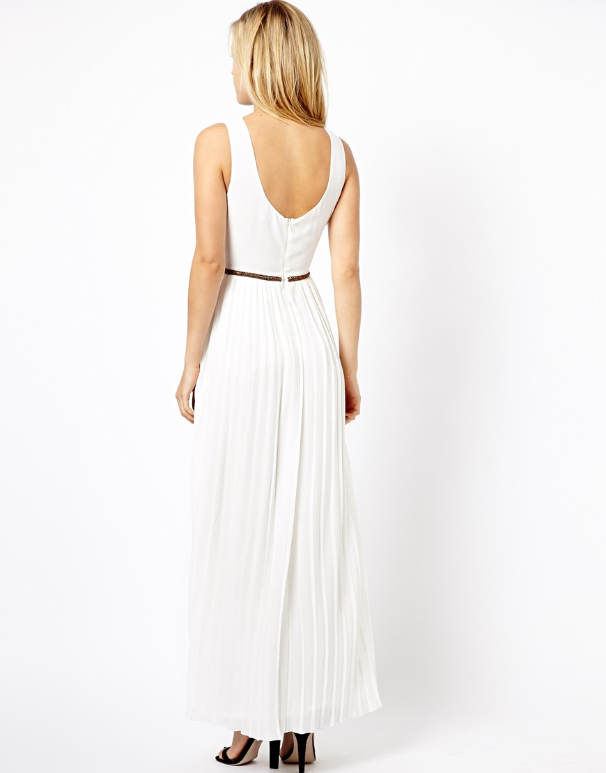 Asos Grecian Style Maxi Dress in Natural - Lyst