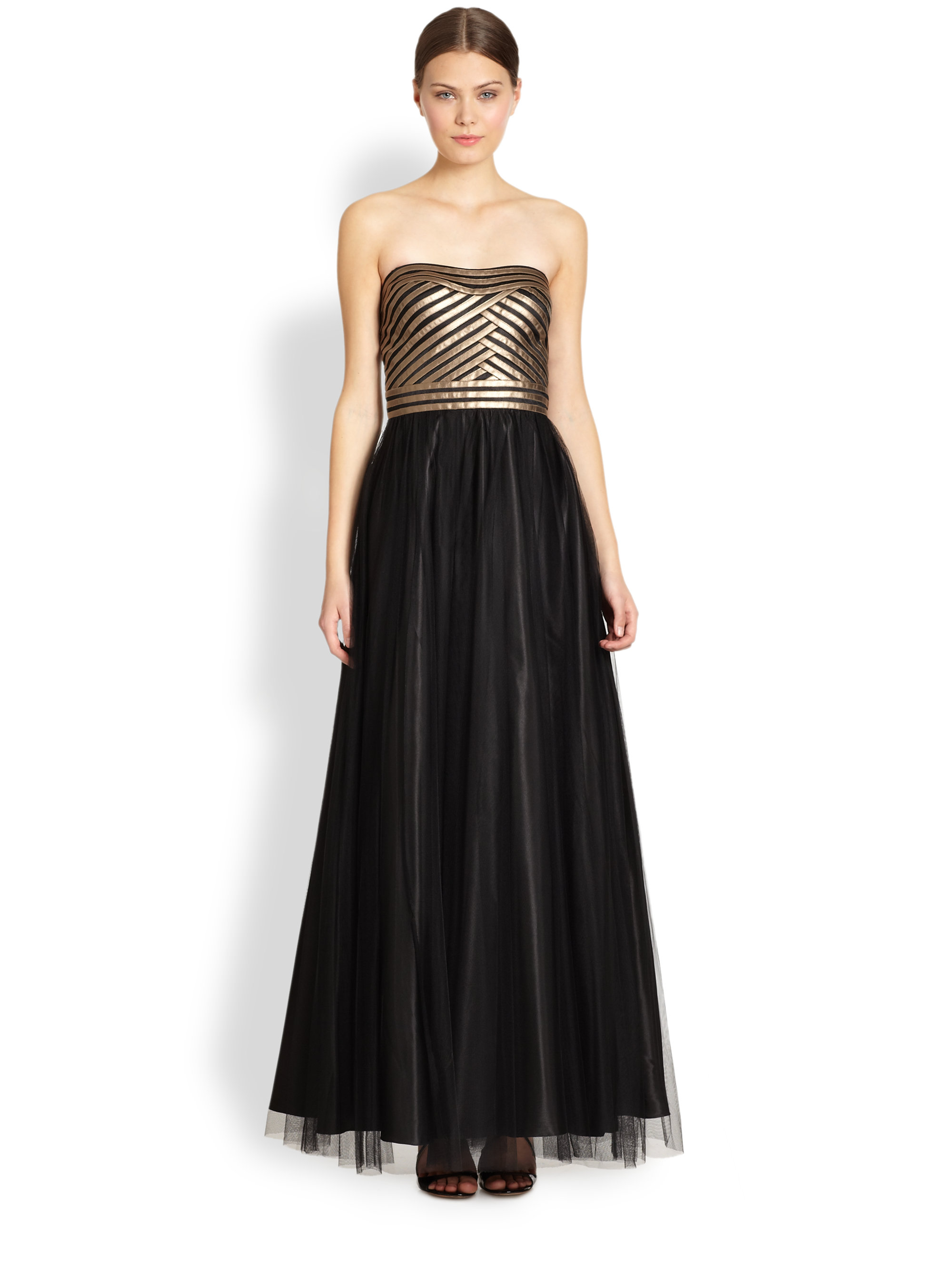 Lyst - Aidan Mattox Tulle Faux Leather Strapless Gown in Black