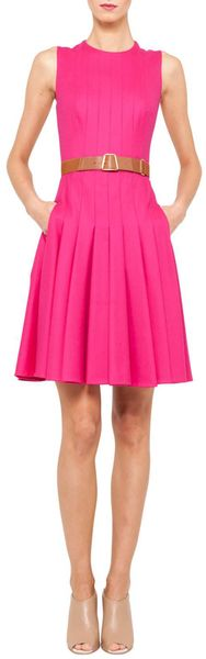 Akris Sleeveless Belted Pleat Dress - Lyst