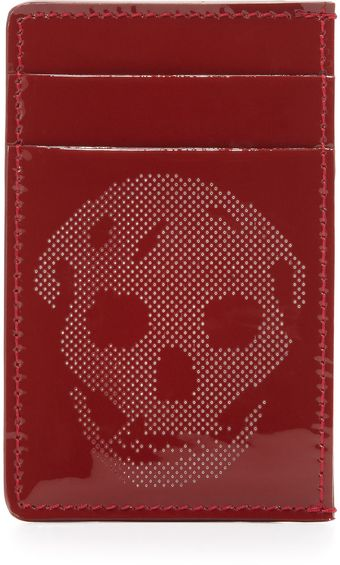 Alexander McQueen Patent Perforatedskull Card Case Red - Lyst