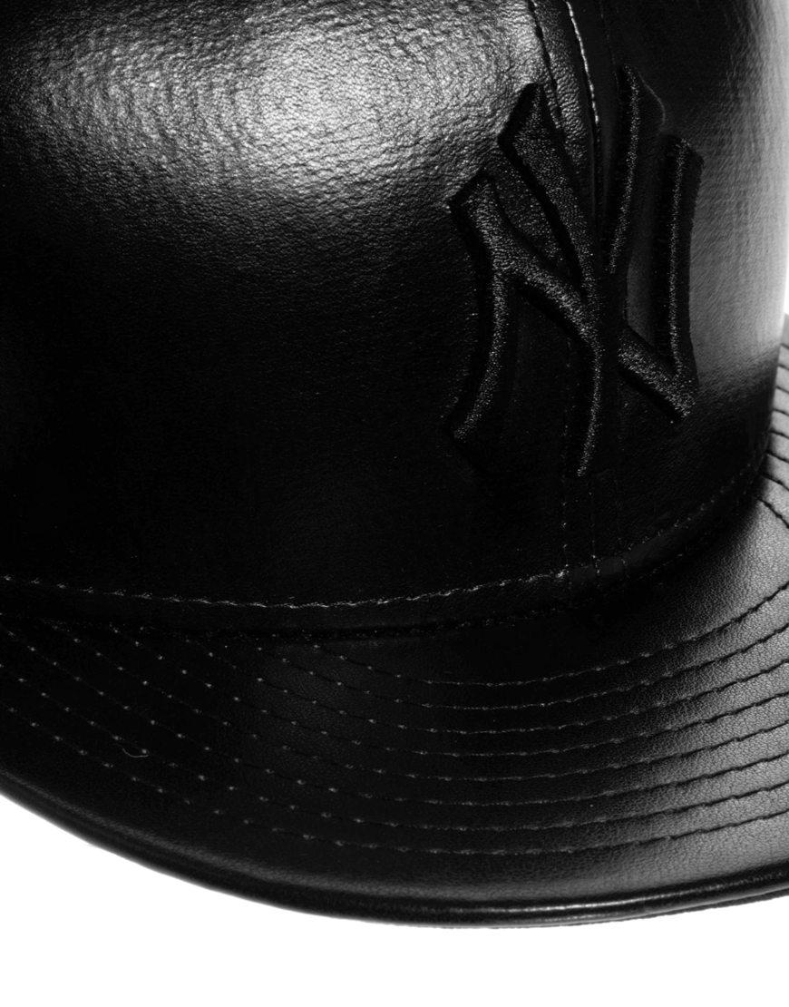 0508cdf55f6 Lyst - ASOS New Era New York Yankees Leather Tone Snapback Cap in Black