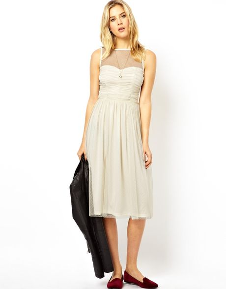 Asos Prom Mesh Midi Dress in White (Cream)