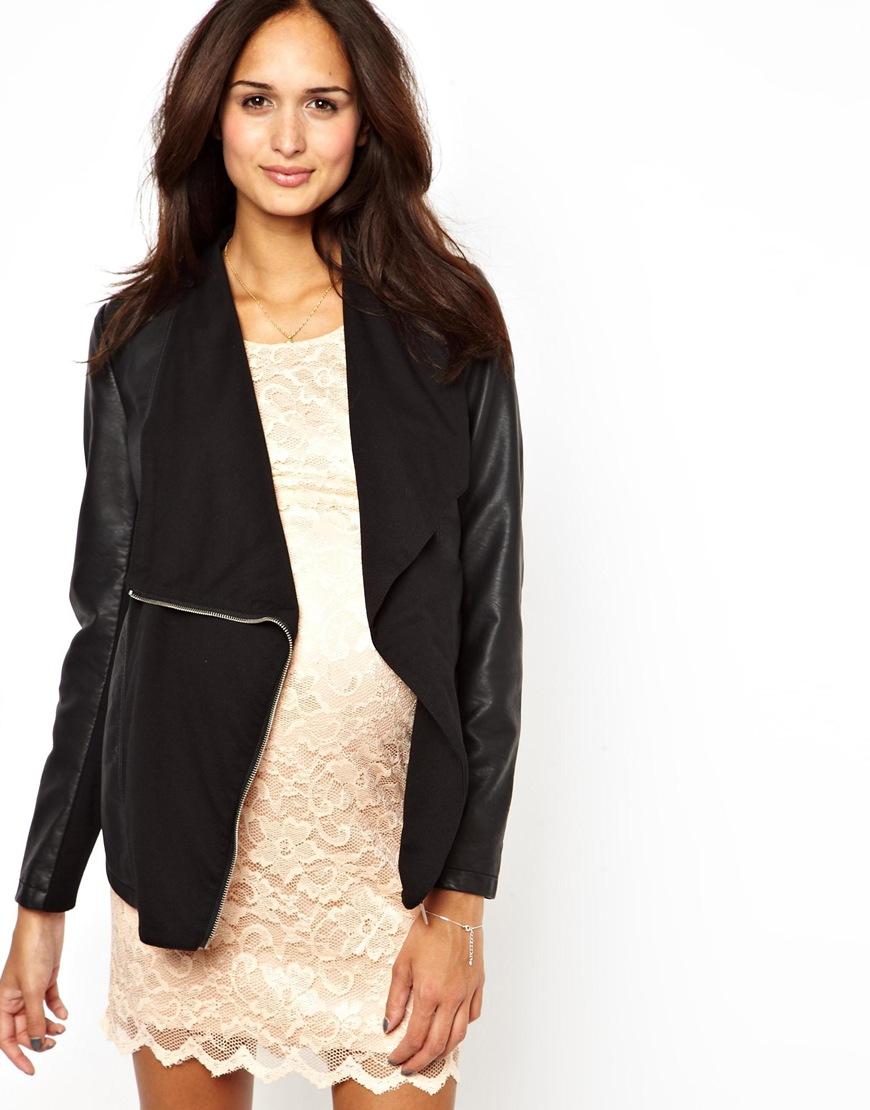 Lyst Asos New Look Maternity Pu Waterfall Jacket In Black