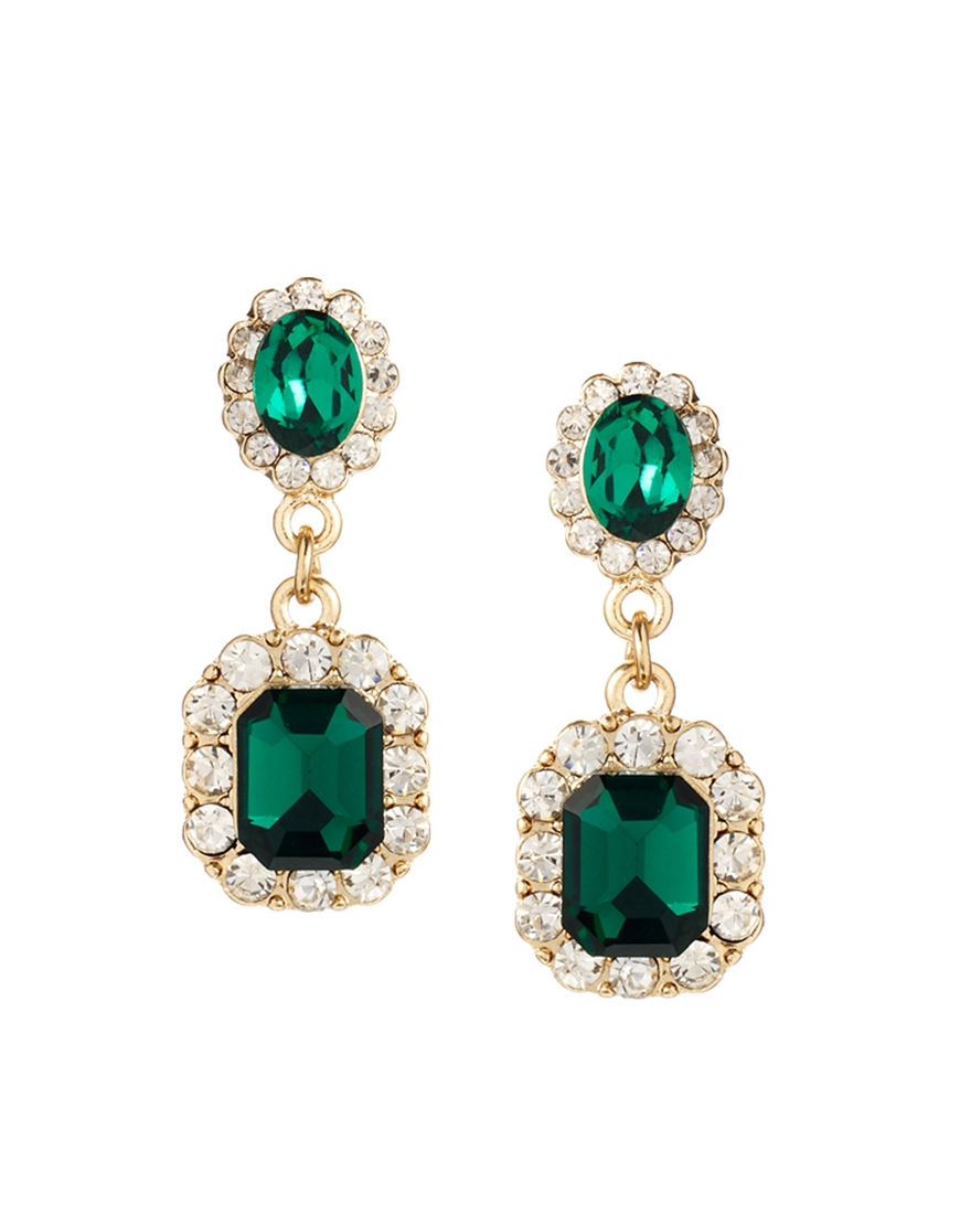 Lyst Asos Vine Look Jewel Earrings In Green Crown Drop