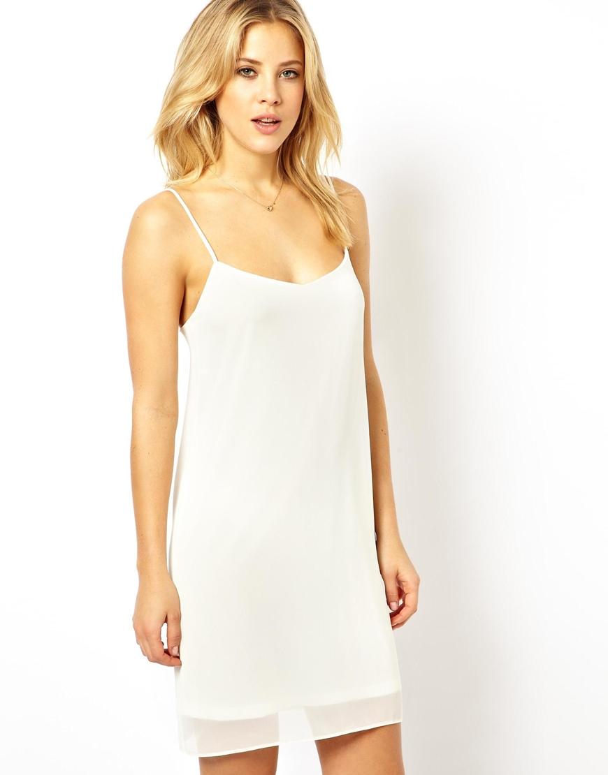 Asos Cami Slip Dress in White | Lyst