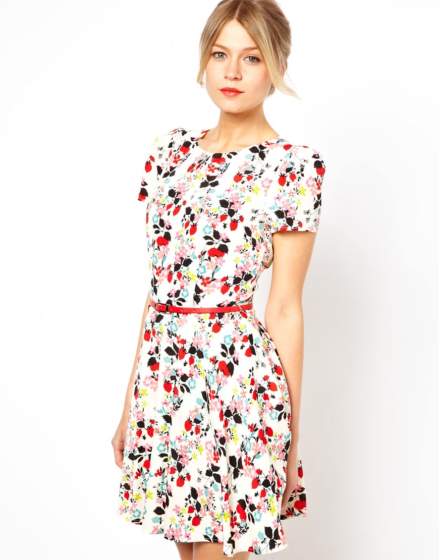 Asos Oasis Floral Print Skater Dress in Floral (Multi) | Lyst