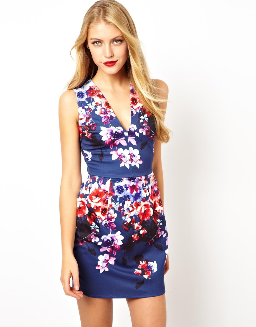 17559dc3d2 Lyst - ASOS Deep Plunge Floral Lantern Dress in Blue
