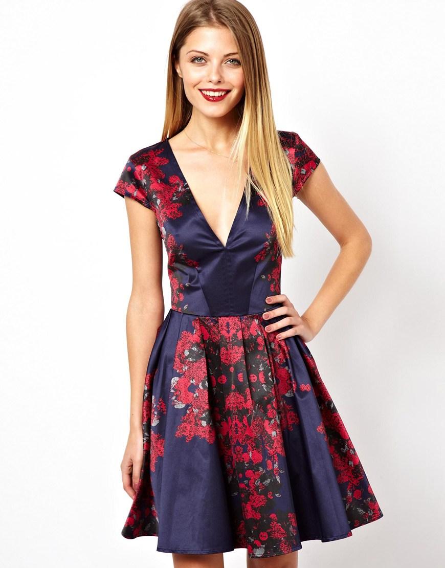 Asos Mirror Floral Deep V Skater Dress in Blue