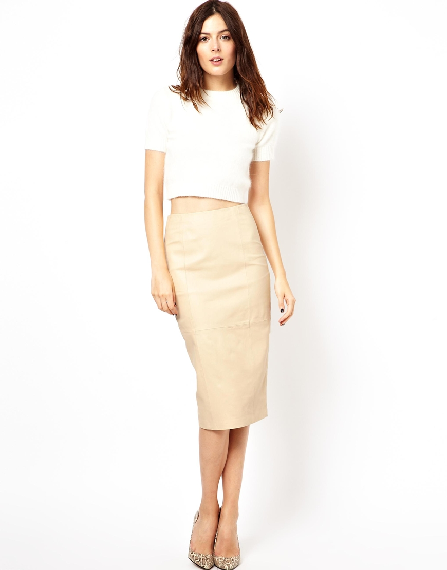 Asos Pencil Skirt In Leather in Natural | Lyst