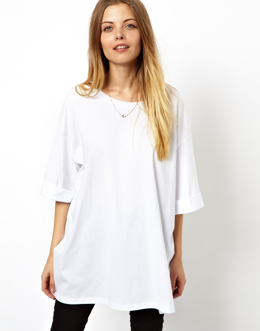 lyst asos oversized t shirt in white. Black Bedroom Furniture Sets. Home Design Ideas