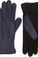 Barneys New York Twotone Gloves - Lyst