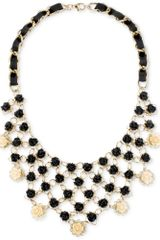 Betsey Johnson Goldtone Black Flower Bib Frontal Necklace - Lyst
