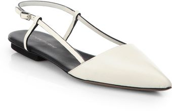 Costume National Leather Slingback Flats - Lyst