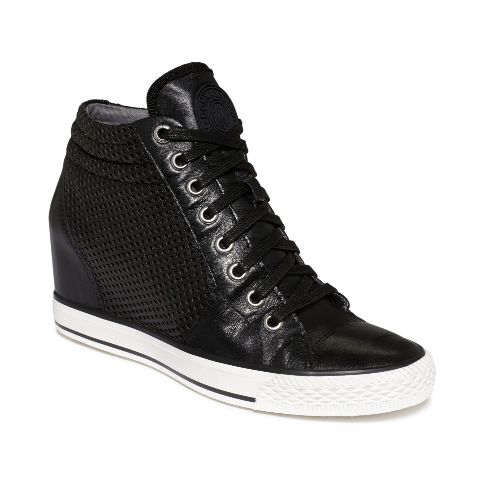 Dkny Womens Cindy Sneakers In Black Black Perf Leather