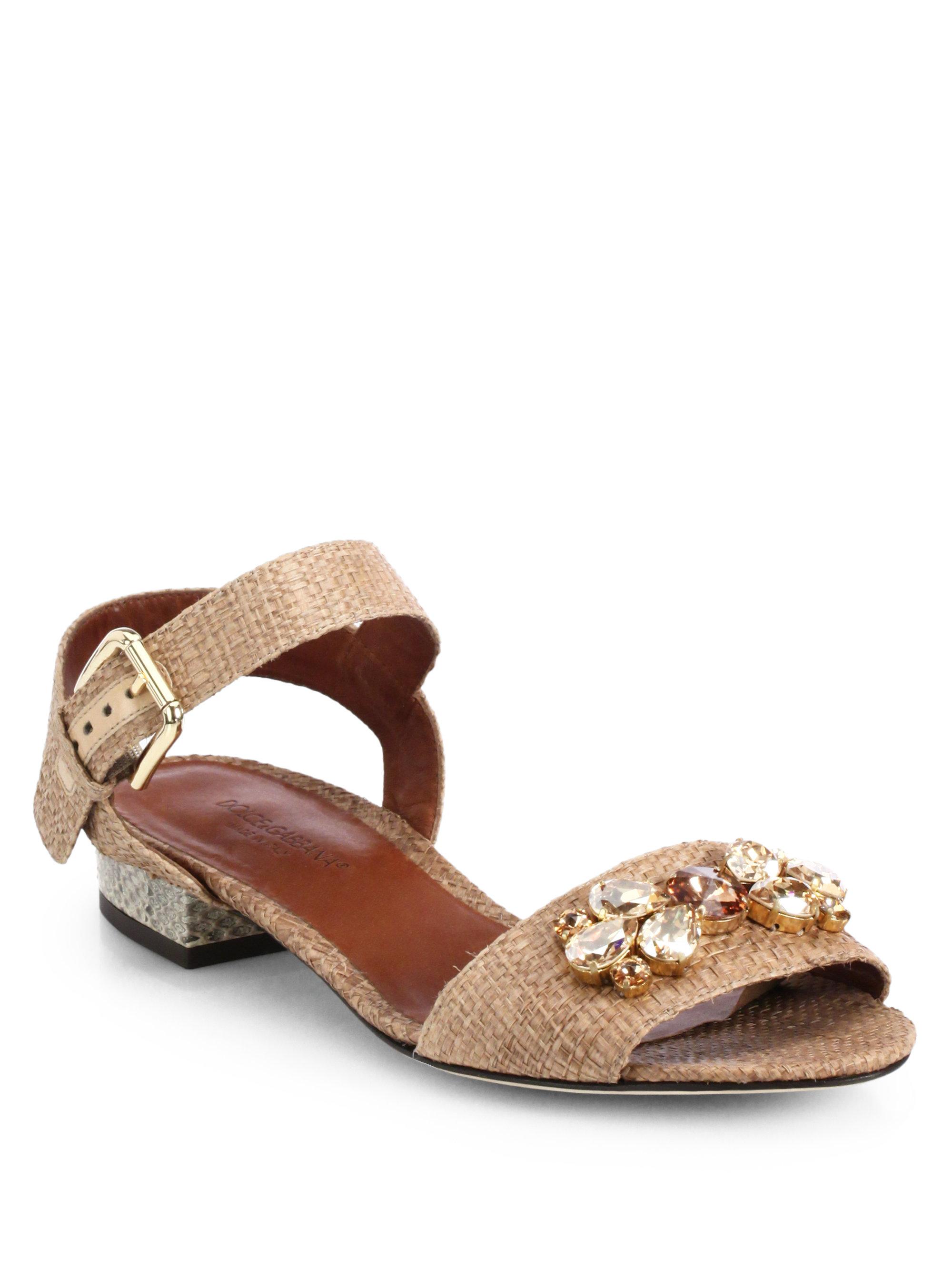 801b5c81847d Lyst - Dolce   Gabbana Jeweled Raffia Snakeskin Sandals in Brown