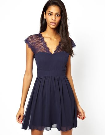 Asos Lace Skater Dress With Scallop Back - Lyst