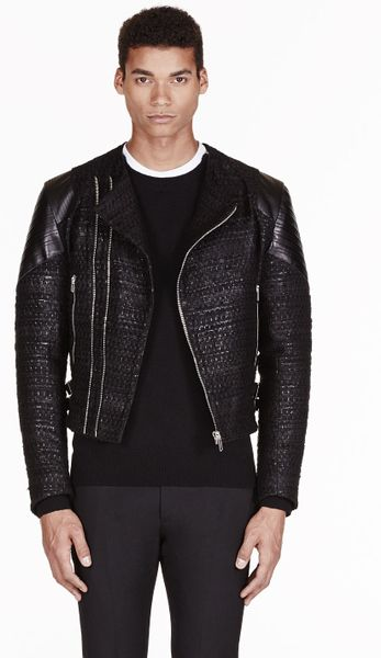 Givenchy Black Tweed Leather Trimmed Biker Jacket In Black