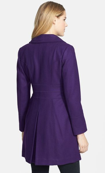 Guess Exaggerated Collar Wool Blend Coat In Purple Violet