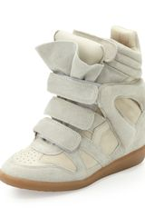 Isabel Marant Beckett Suede Wedge Sneaker Cream - Lyst